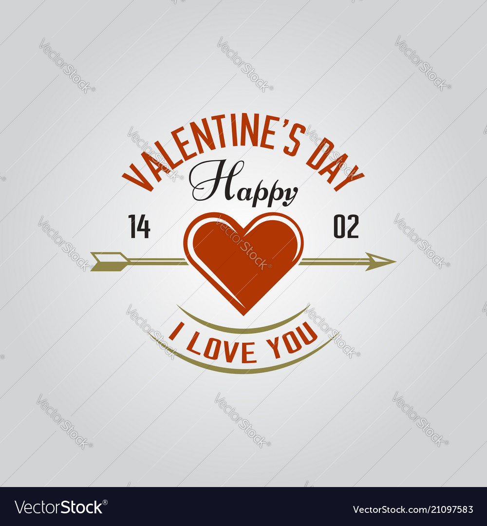 Happy valentines day isolated label