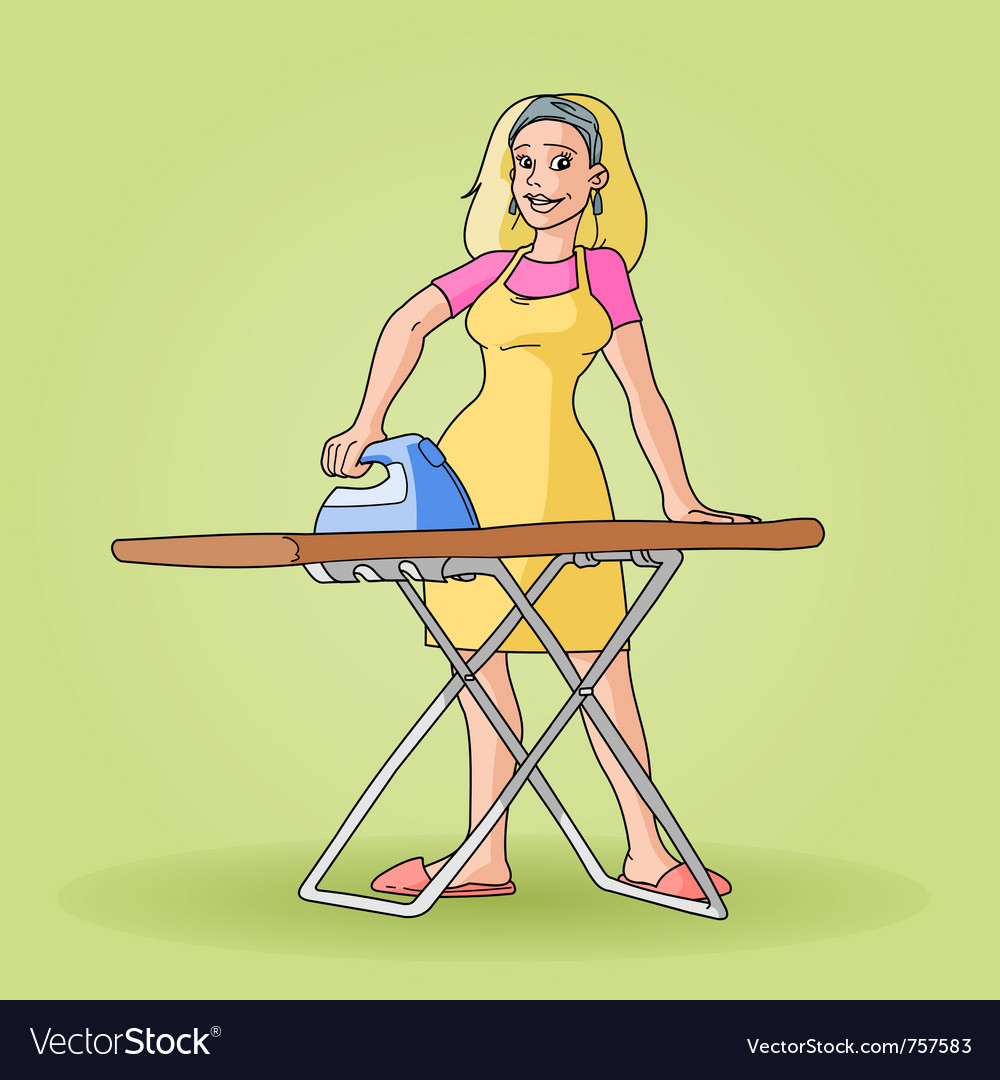 Housewife ironing clip art Royalty Free Vector Image
