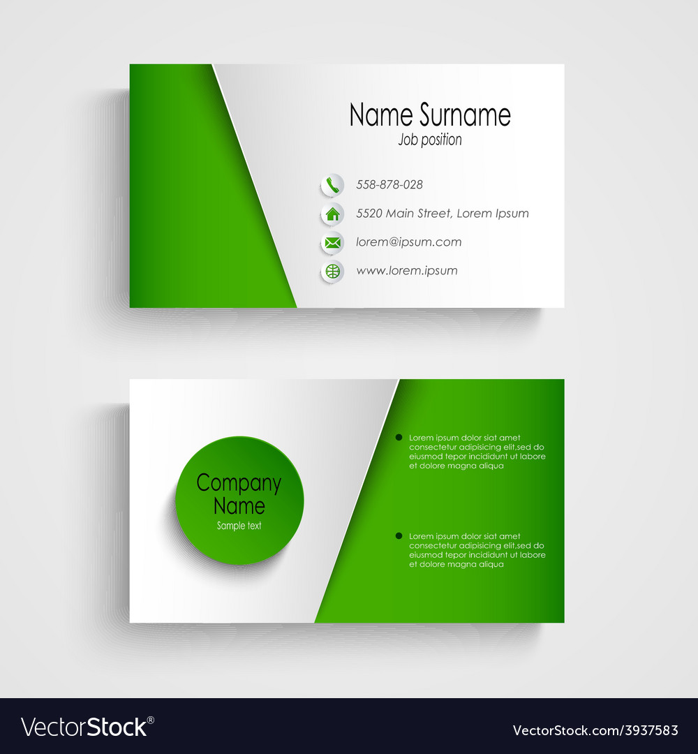 Modern light green business card template vector image accmission