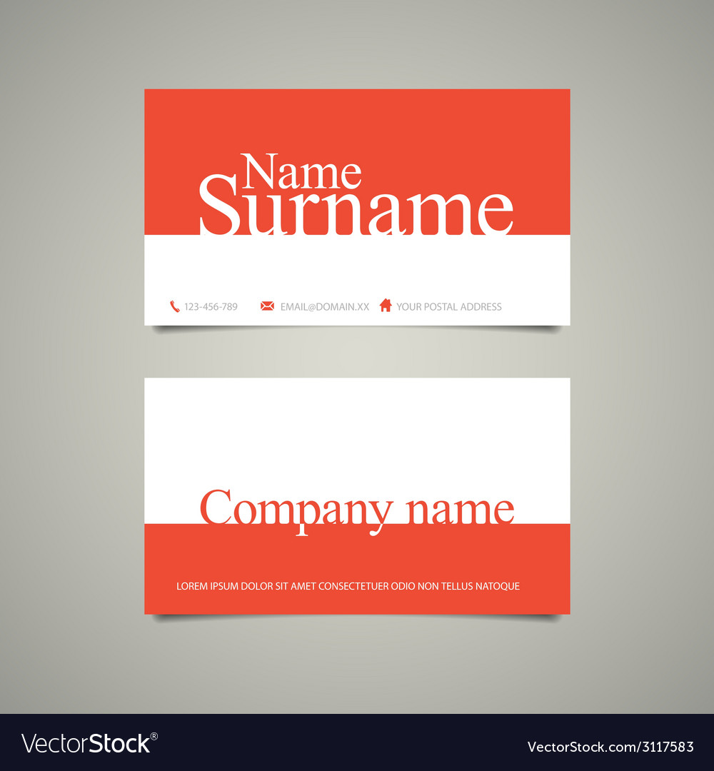 Modern simple business card template with big name modern simple business card template with big name vector image accmission Choice Image