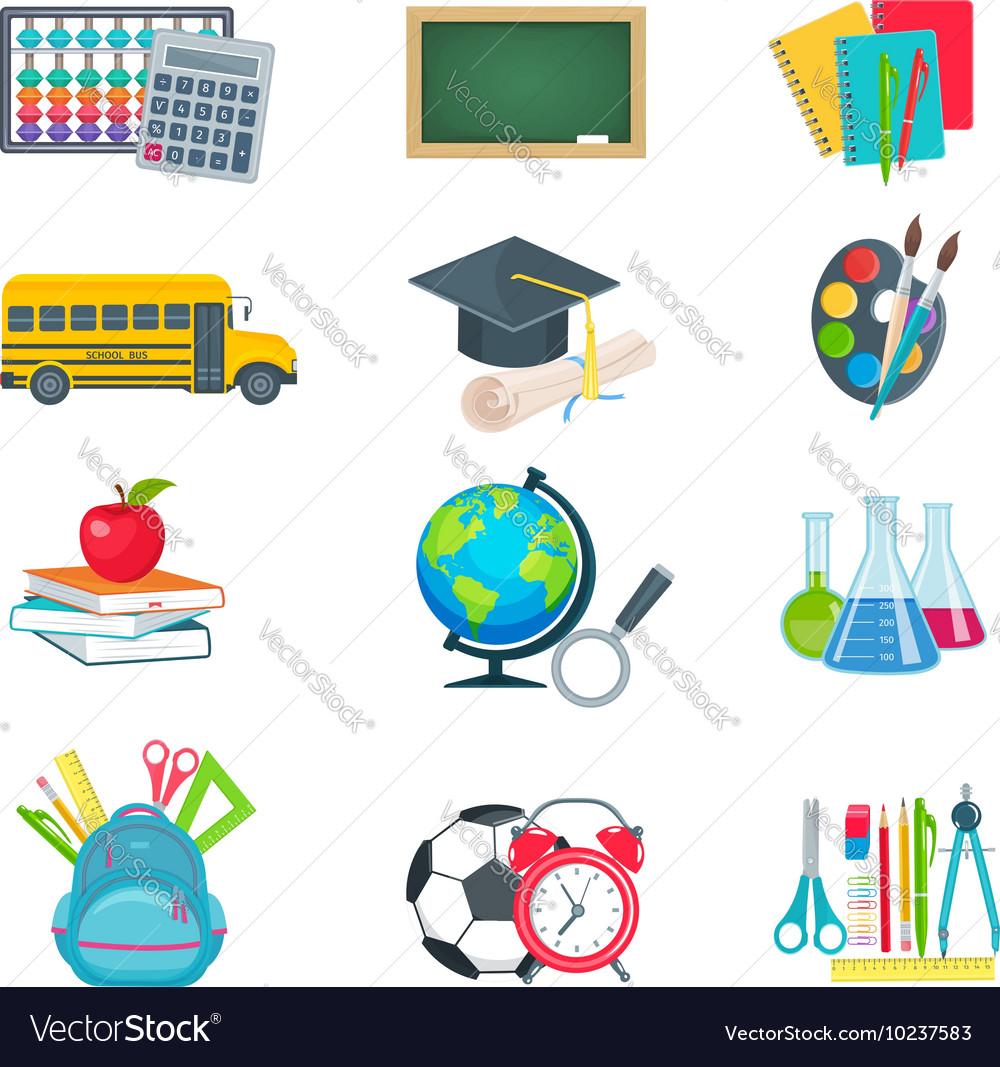 School education icons set vector image