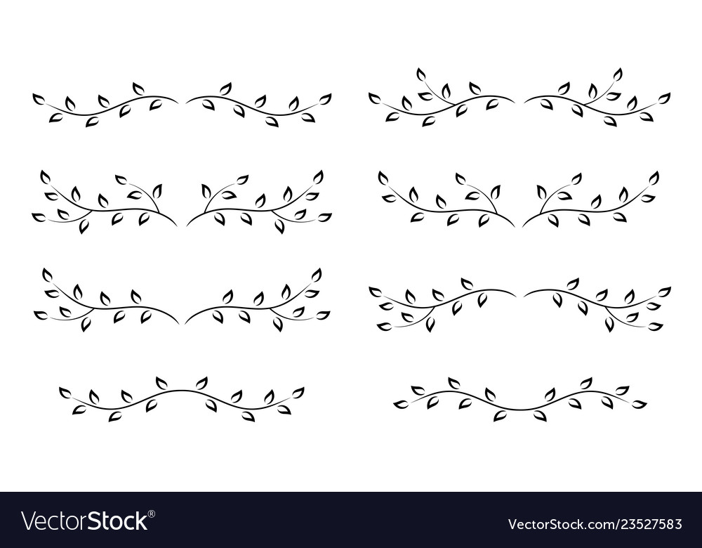 Set of black decorative linear tree branches