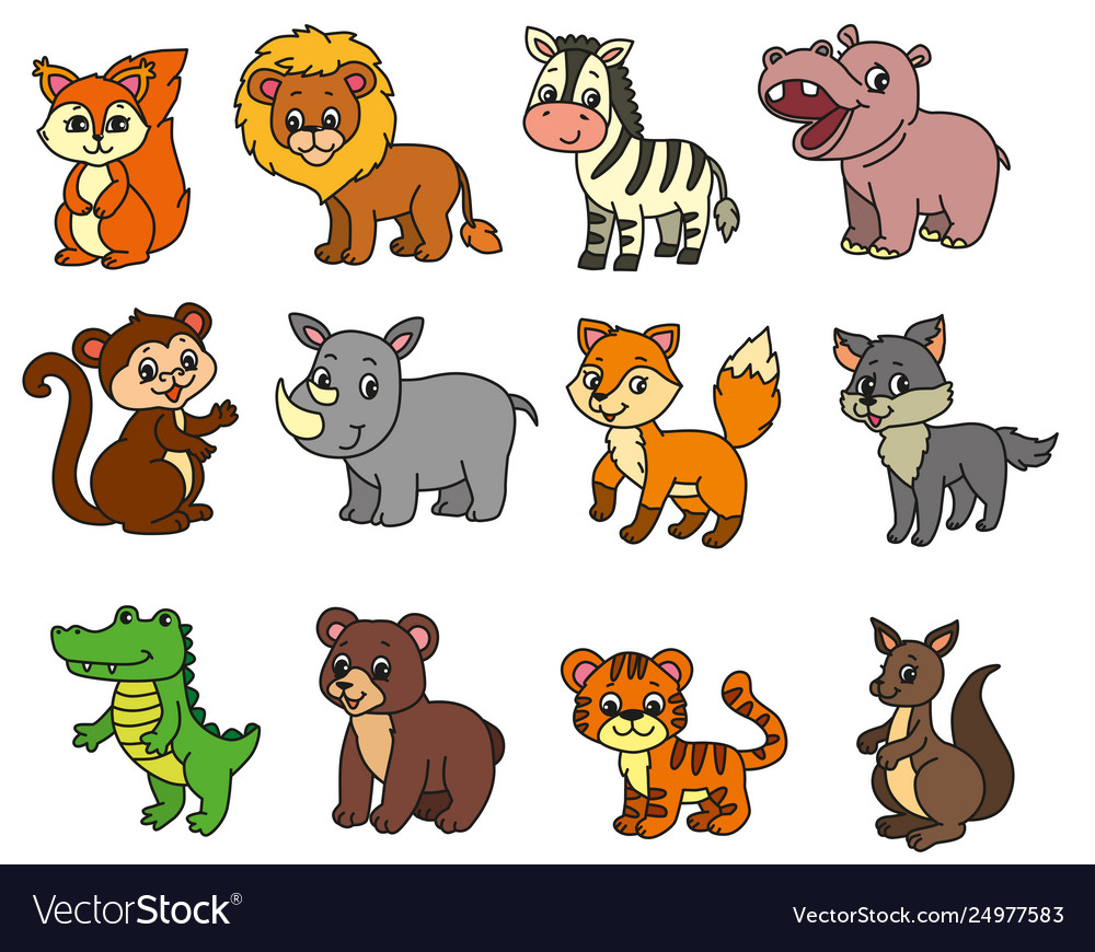 Wild Animals Cartoon Royalty Free Vector Image