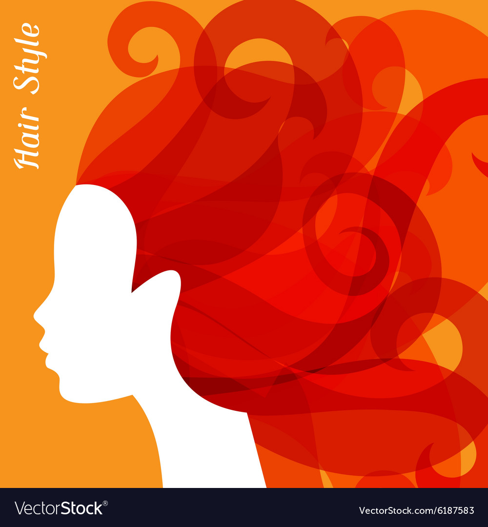 Woman silhouette with curly hair on bacground for