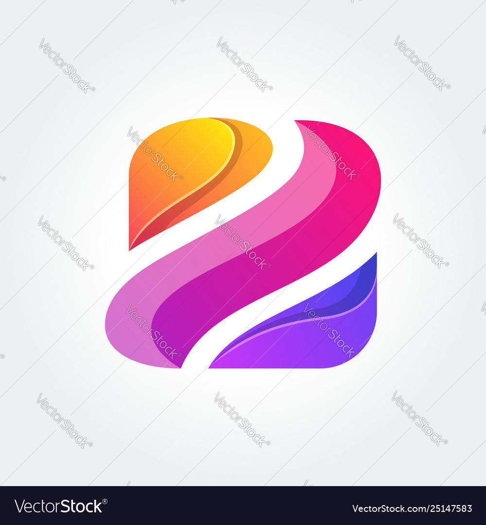 Z icon logo with colorful concept