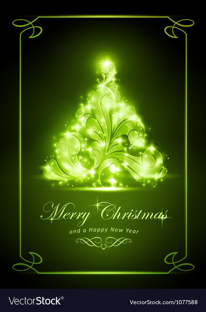 Elegant green Christmas card vector image