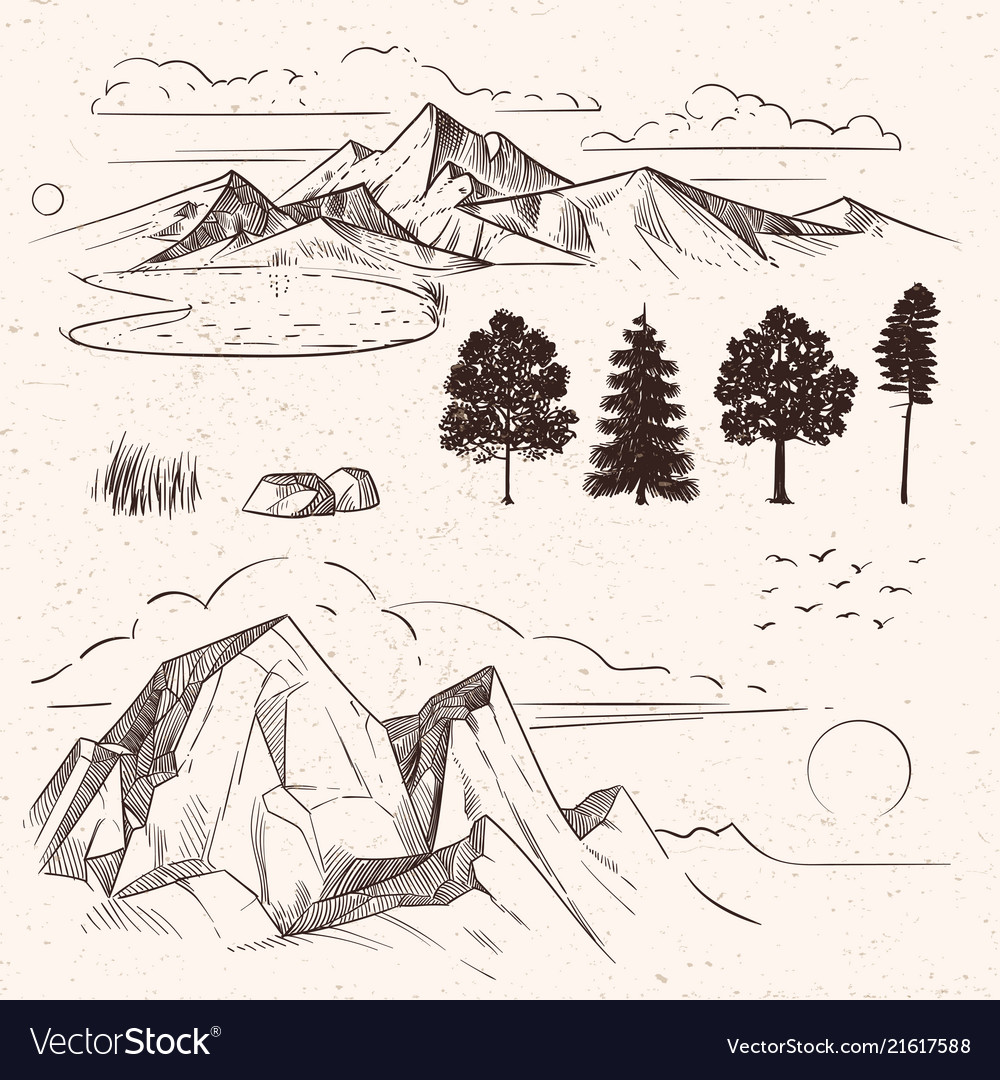 Hand drawing mountain range peaks clouds