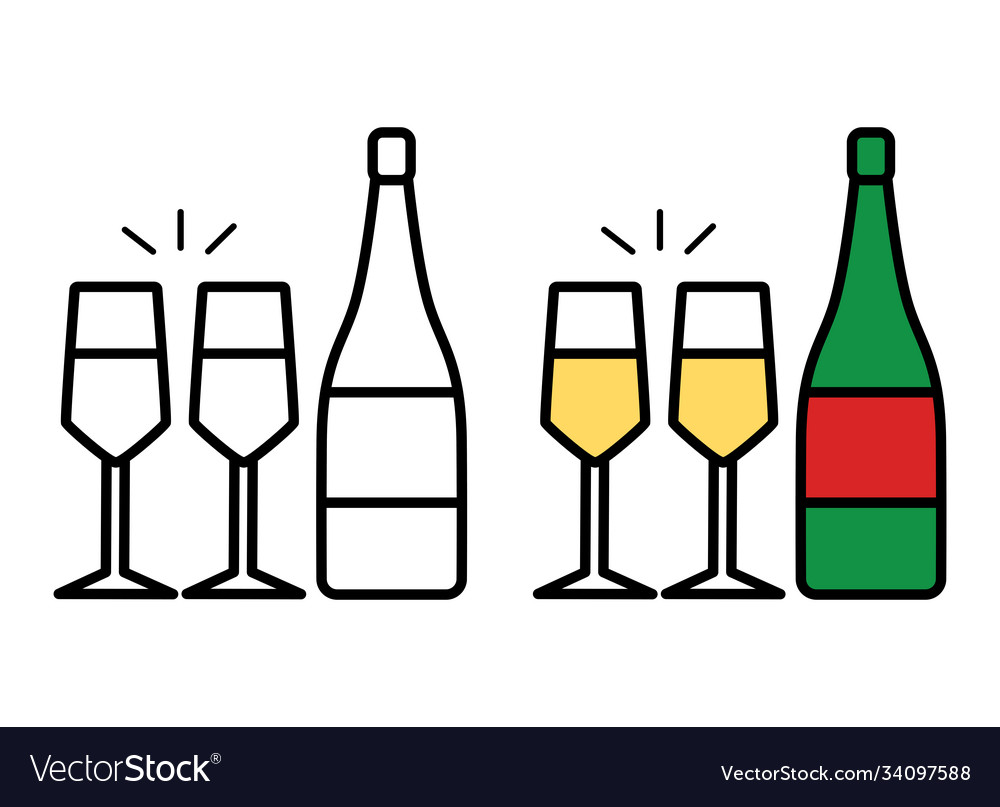 Icon champagne bottle and two glasses on white