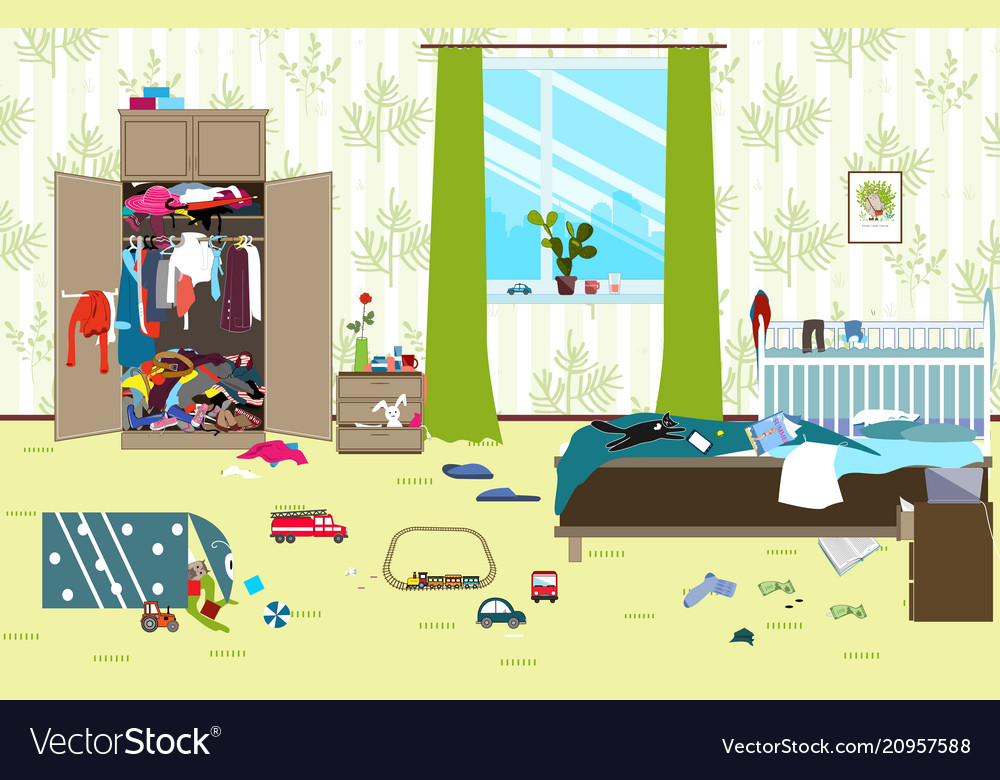 Messy room where young family with little baby