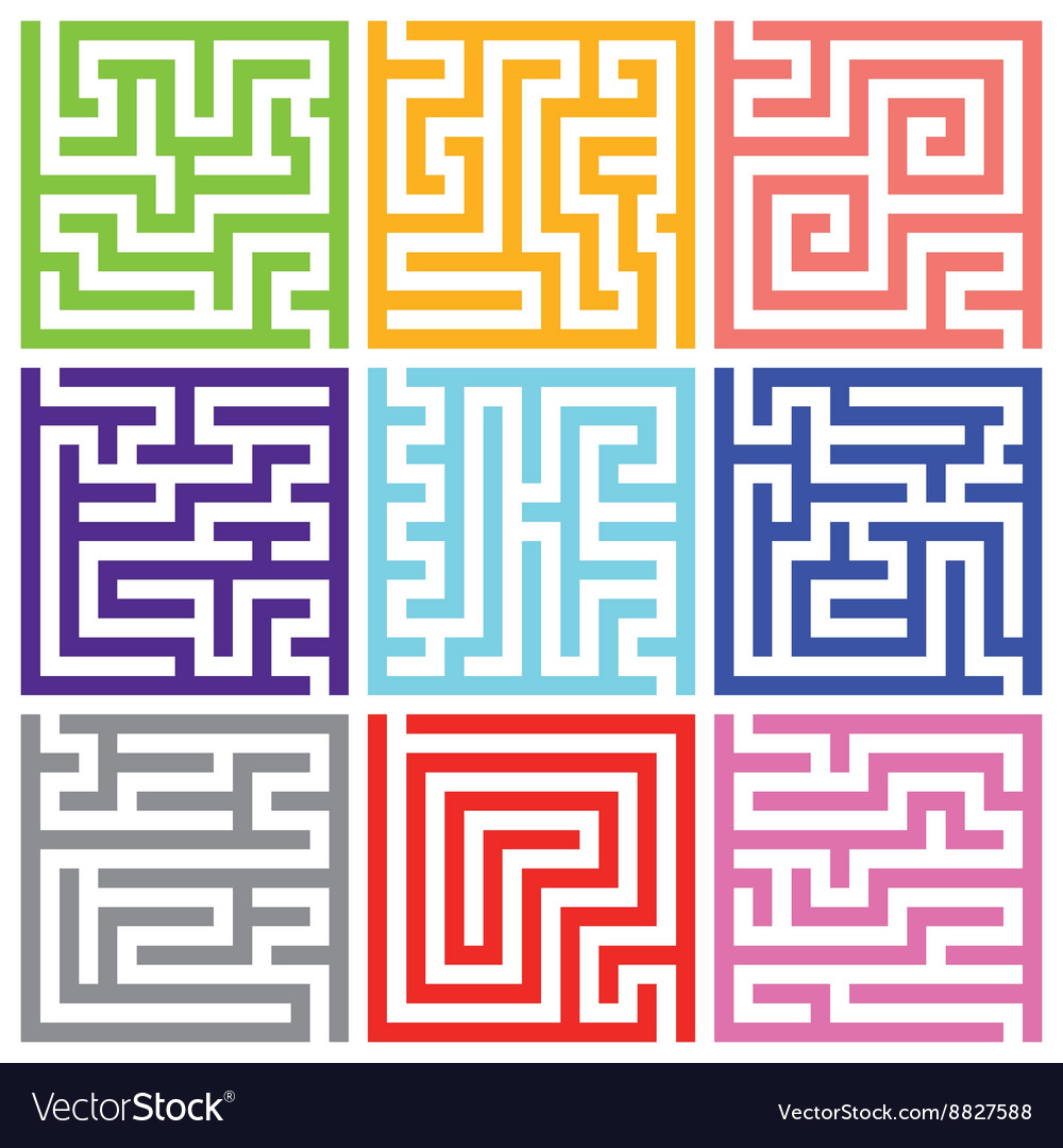 Nine colorful isolated maze pack