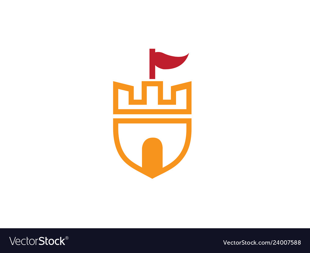 Old castle tower in a shield symbol with a flag