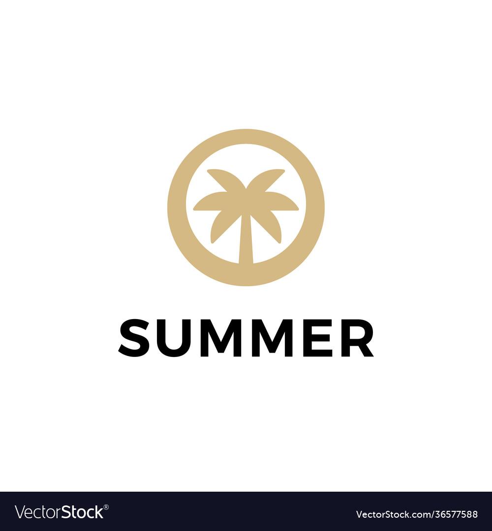 Palm beach summer symbol web icon logo template