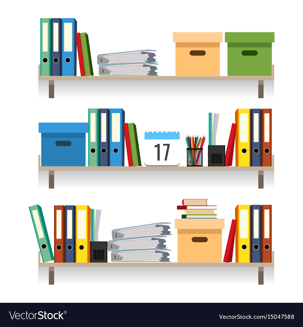 Paperwork concept files with data in stacked vector image