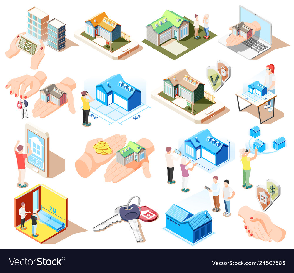 Real estate augmented reality isometric icon set