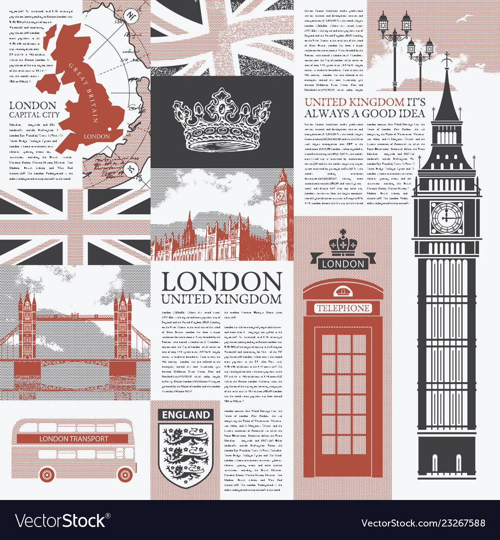 Seamless background on theme of uk and london