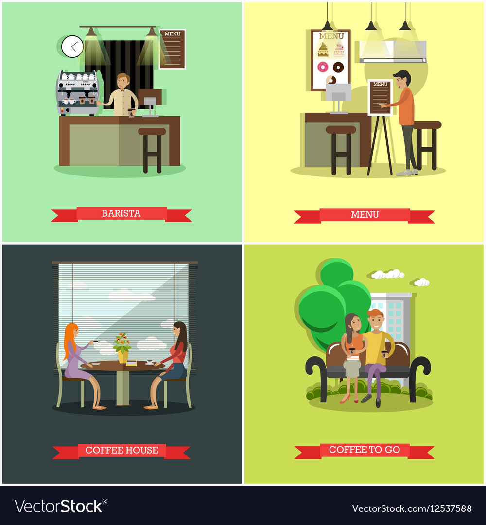 Set of coffee house concept design elements vector image
