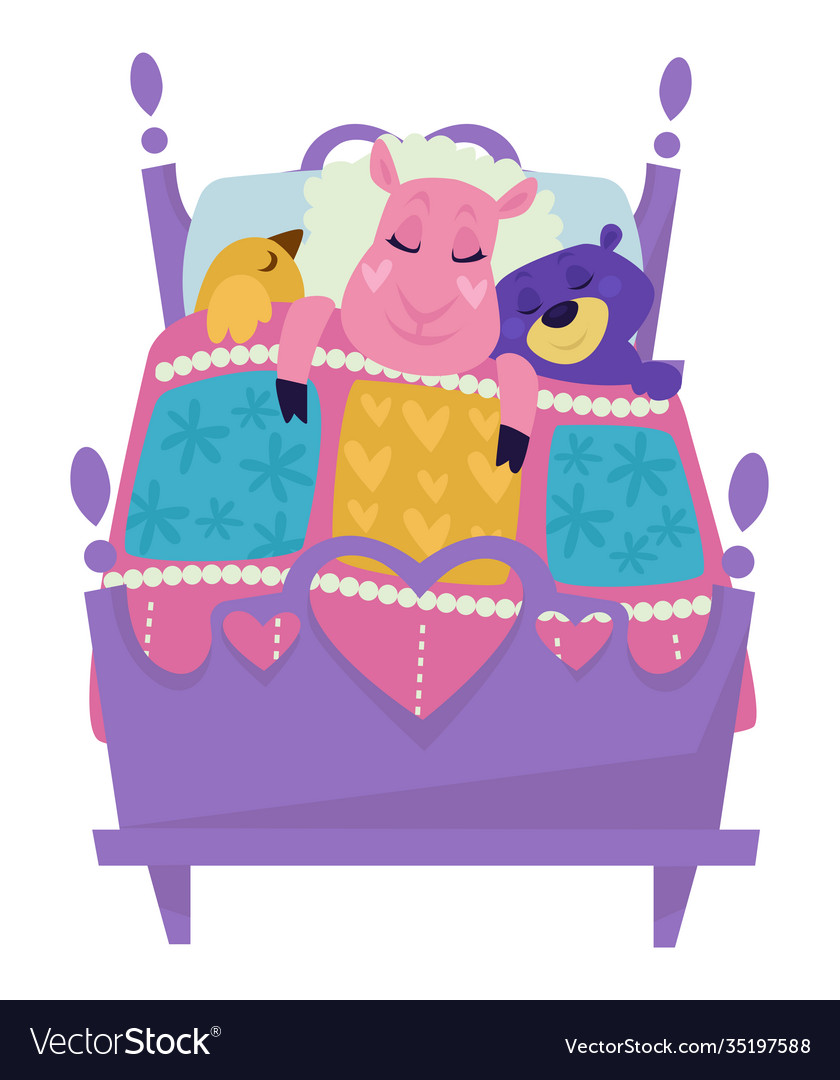 Sheep and bird with bear sleeping in bed