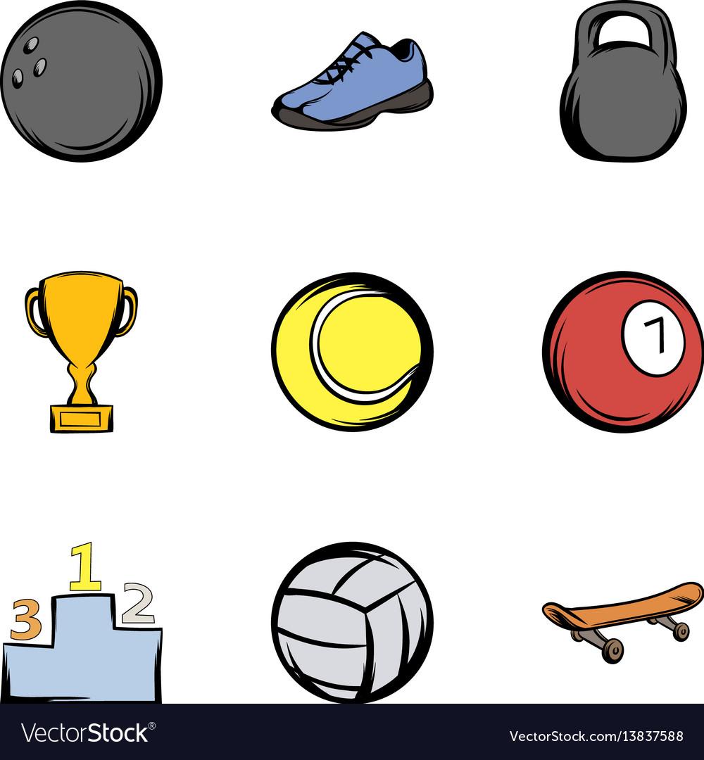 Sport training icons set cartoon style