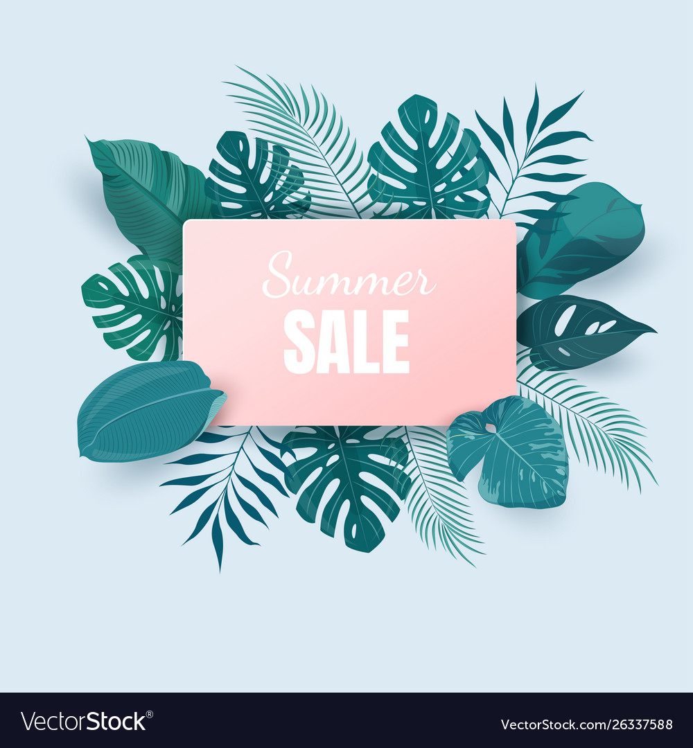 Summer sale background with exotic tropical leaves