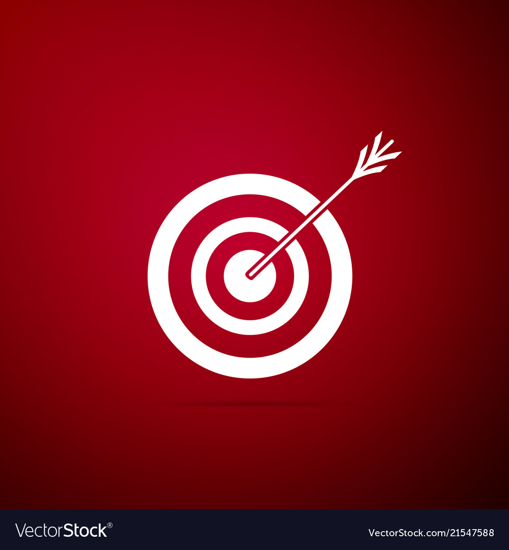 Target with arrow icon isolated on red background