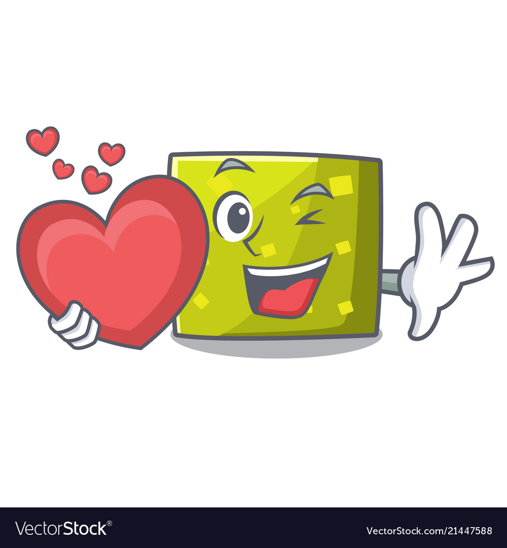 With heart square mascot cartoon style Royalty Free Vector 46d00b70737