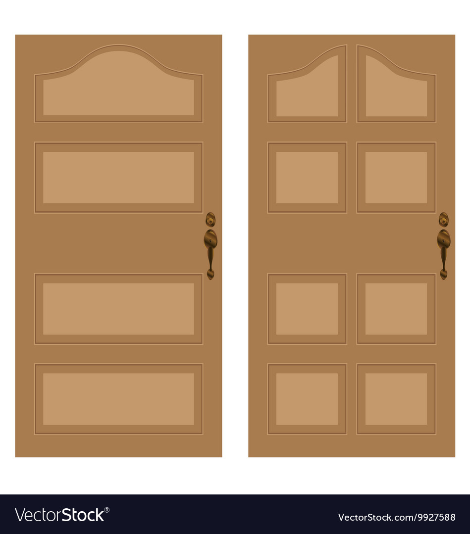 Wooden Door On A White Background Texture Vector Image