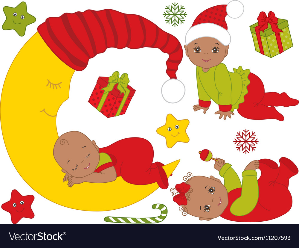 African American Christmas Babies Set Royalty Free Vector