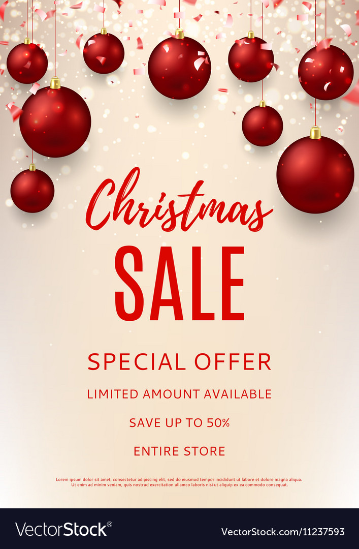 christmas sale flyer template royalty free vector image