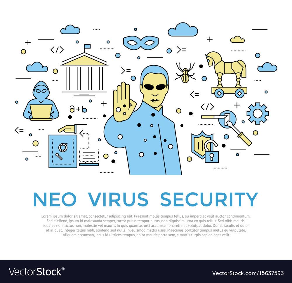Digital color internet security vector image