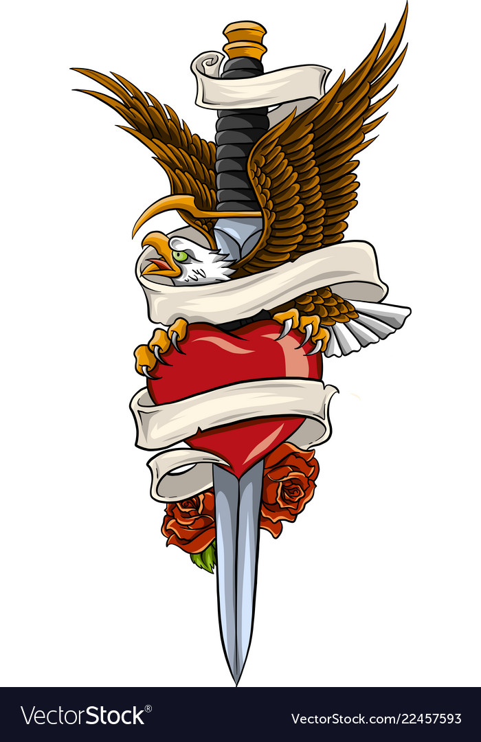 Eagle with earth and rose and ribbon