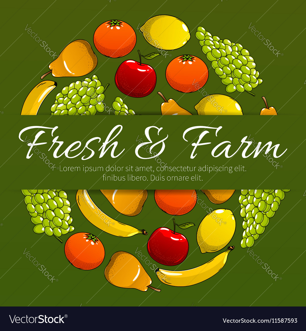 Fresh and farm fruits poster