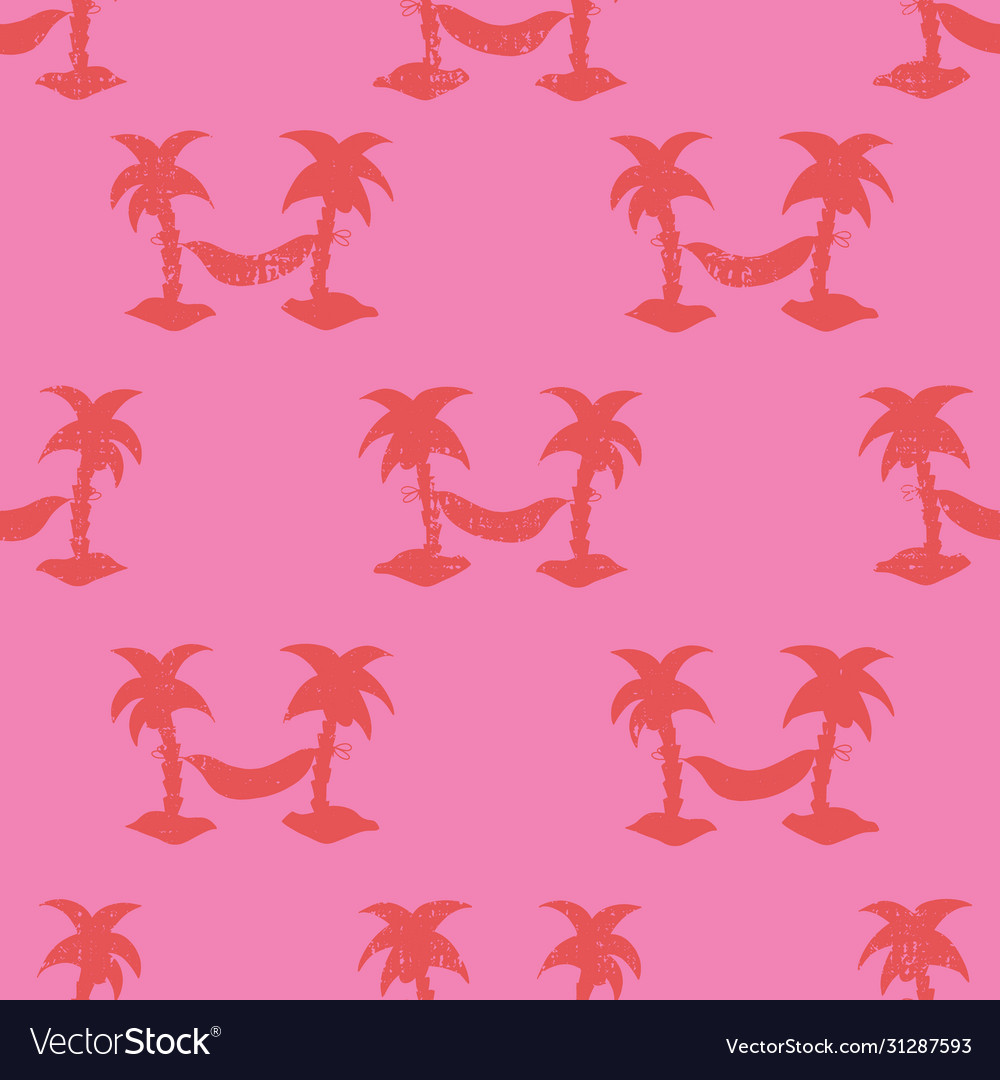 Hammocks between palm trees seamless red and pink