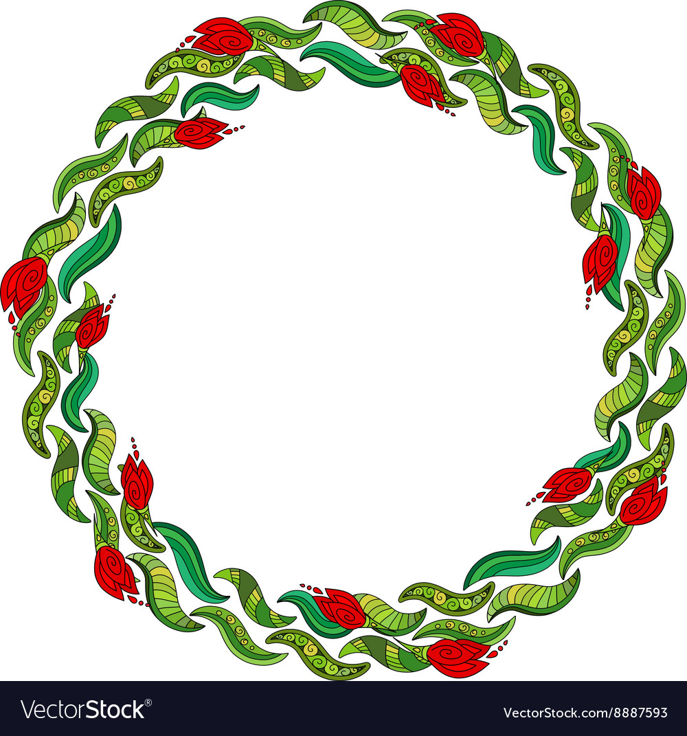 Hand drawn wreath with red flowers and green
