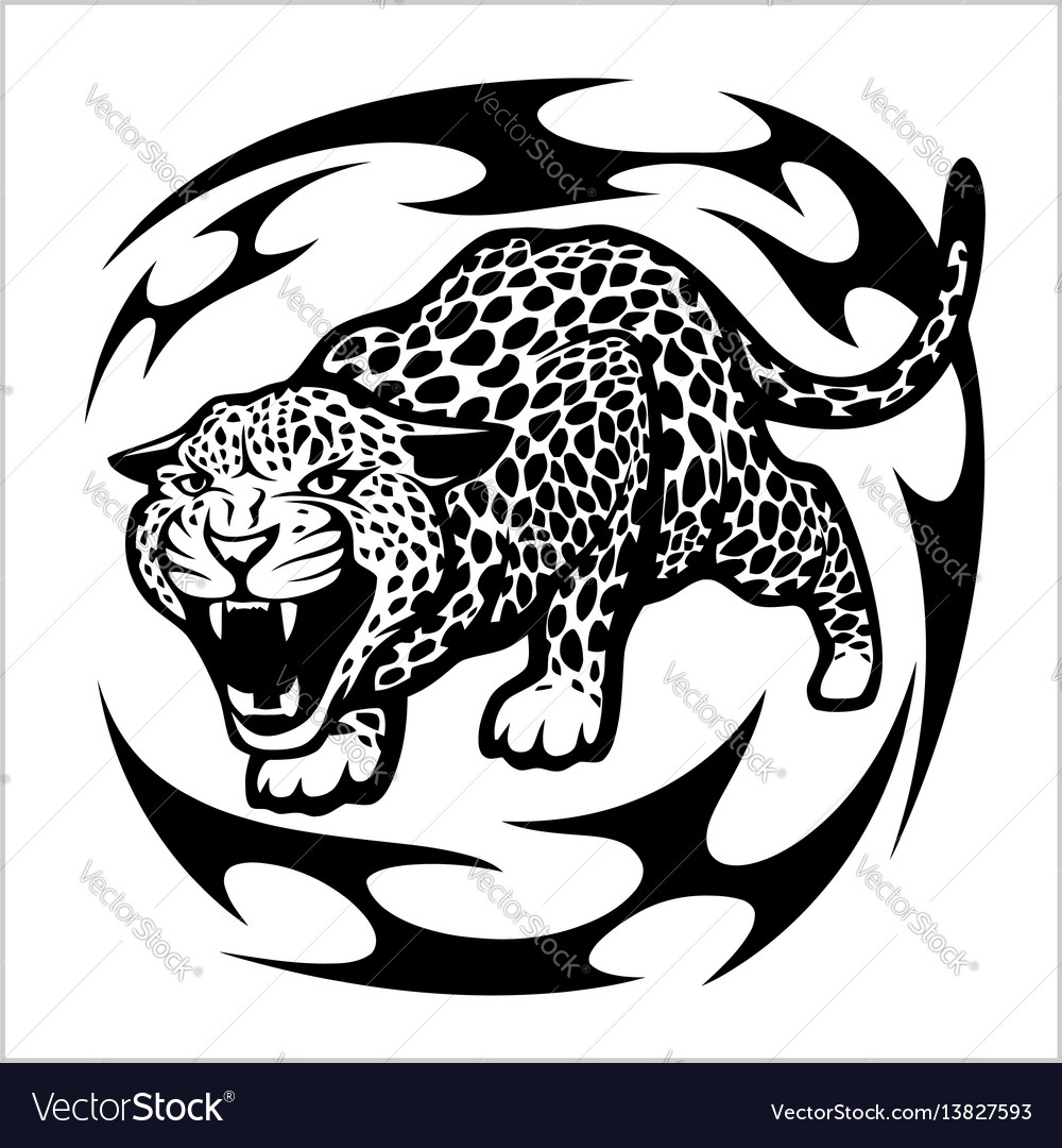 83872cdb3 Jaguar tribal tattoo Royalty Free Vector Image