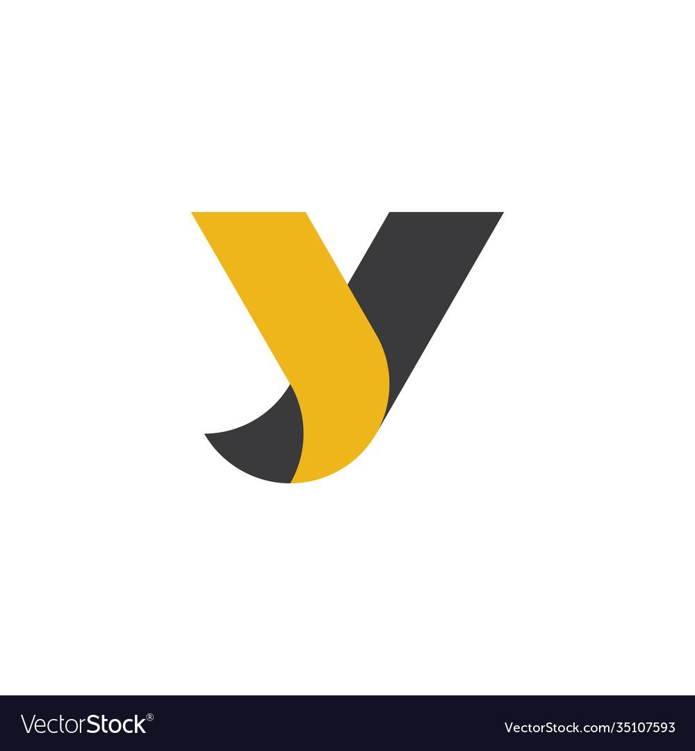 Letter y black yellow logo icon design