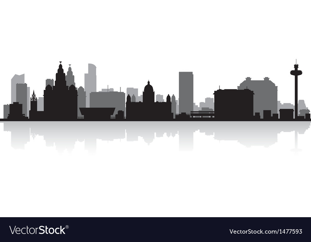 Liverpool City Skyline Silhouette Royalty Free Vector Image