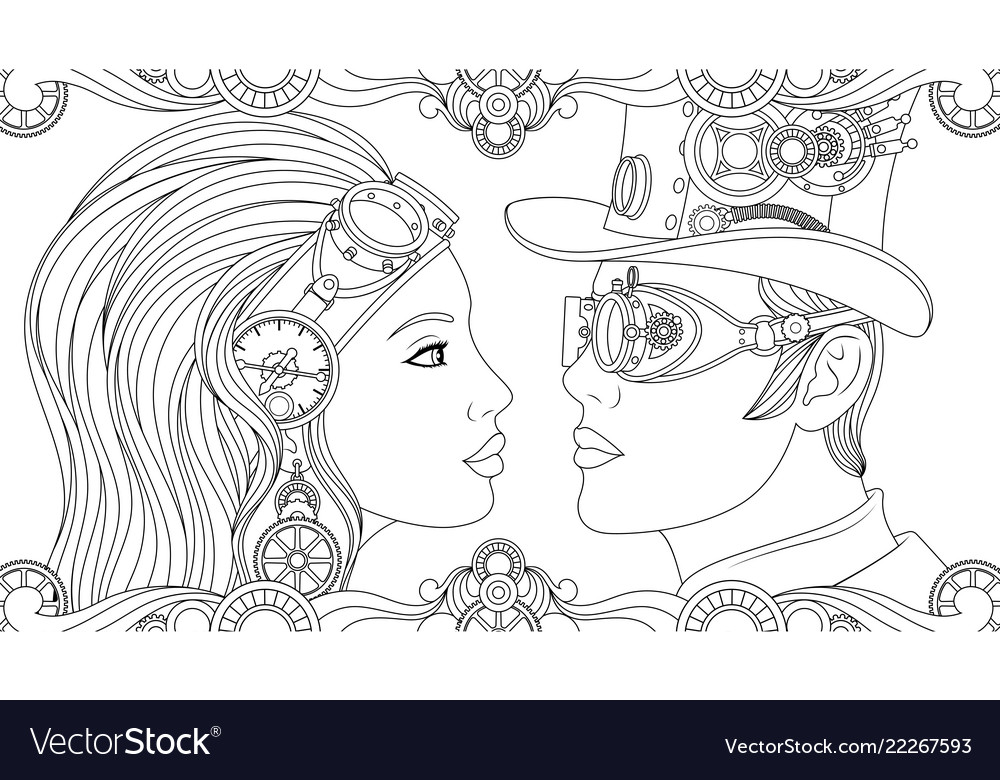 Man and girl in suits steampunk