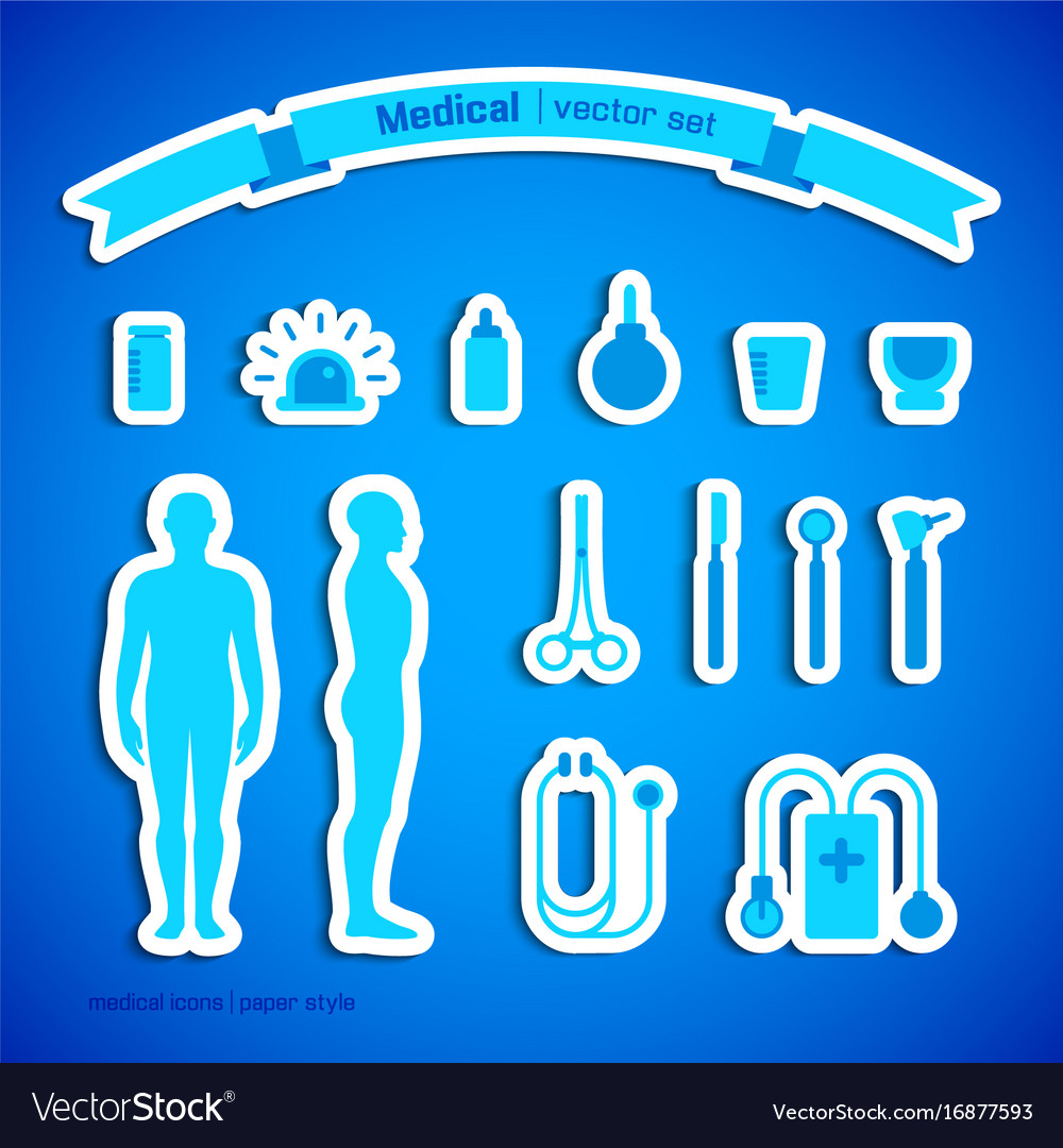 Medical stickers set vector image