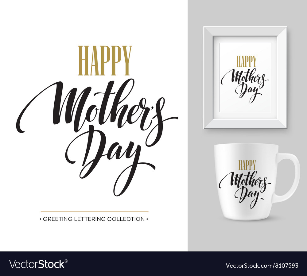 Mothers Day hand lettering collection Mock-up vector image