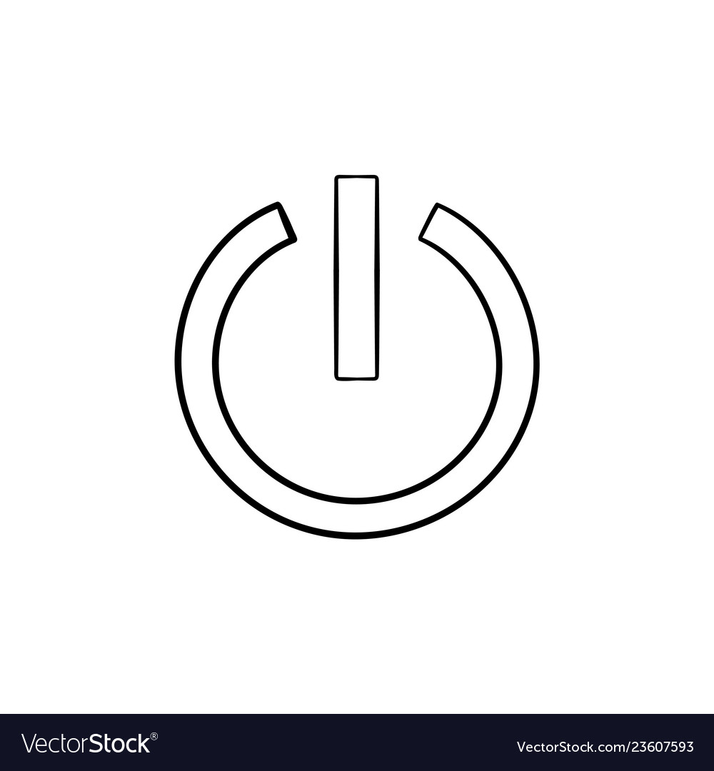 Power button hand drawn outline doodle icon