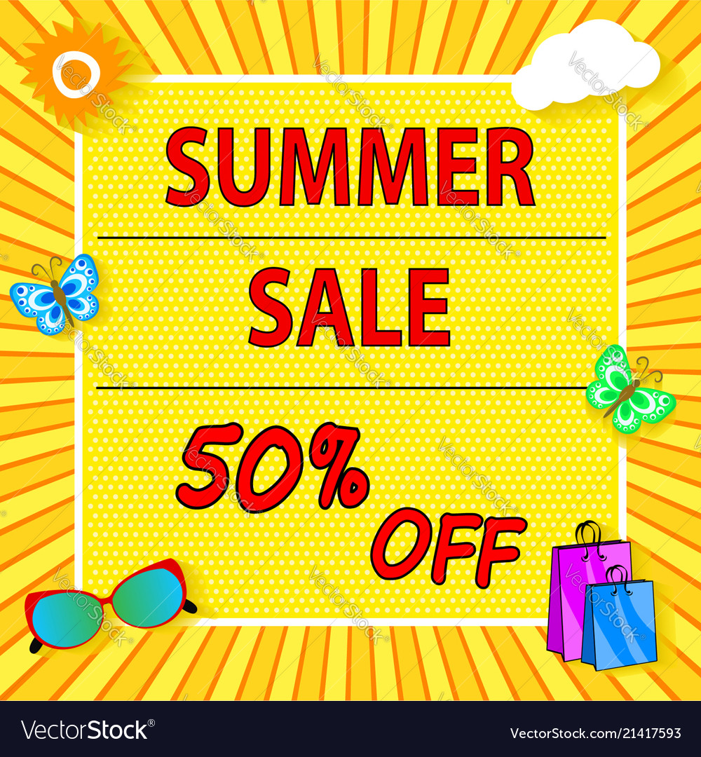 Summer sale banner with sun cloud bag icons