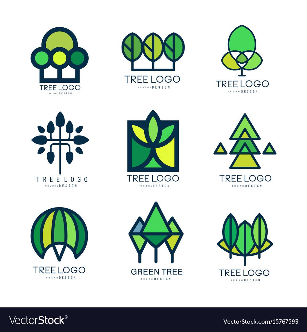 Tree logo original design set of