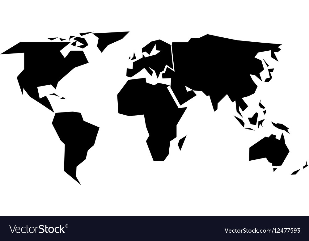 World map silhouette   simplified black Royalty Free Vector