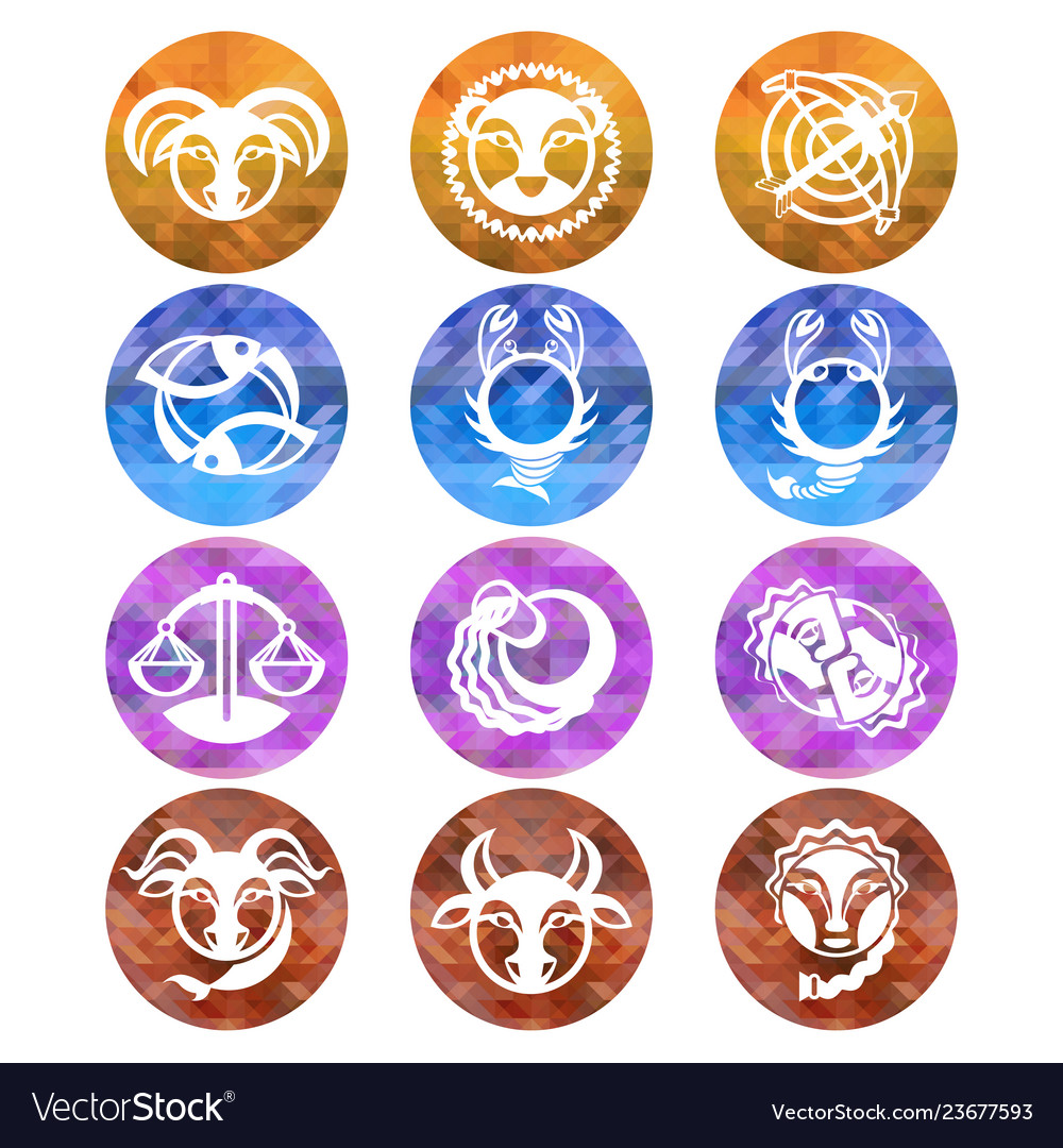 Zodiac signs astrology symbols cartoon horoscope