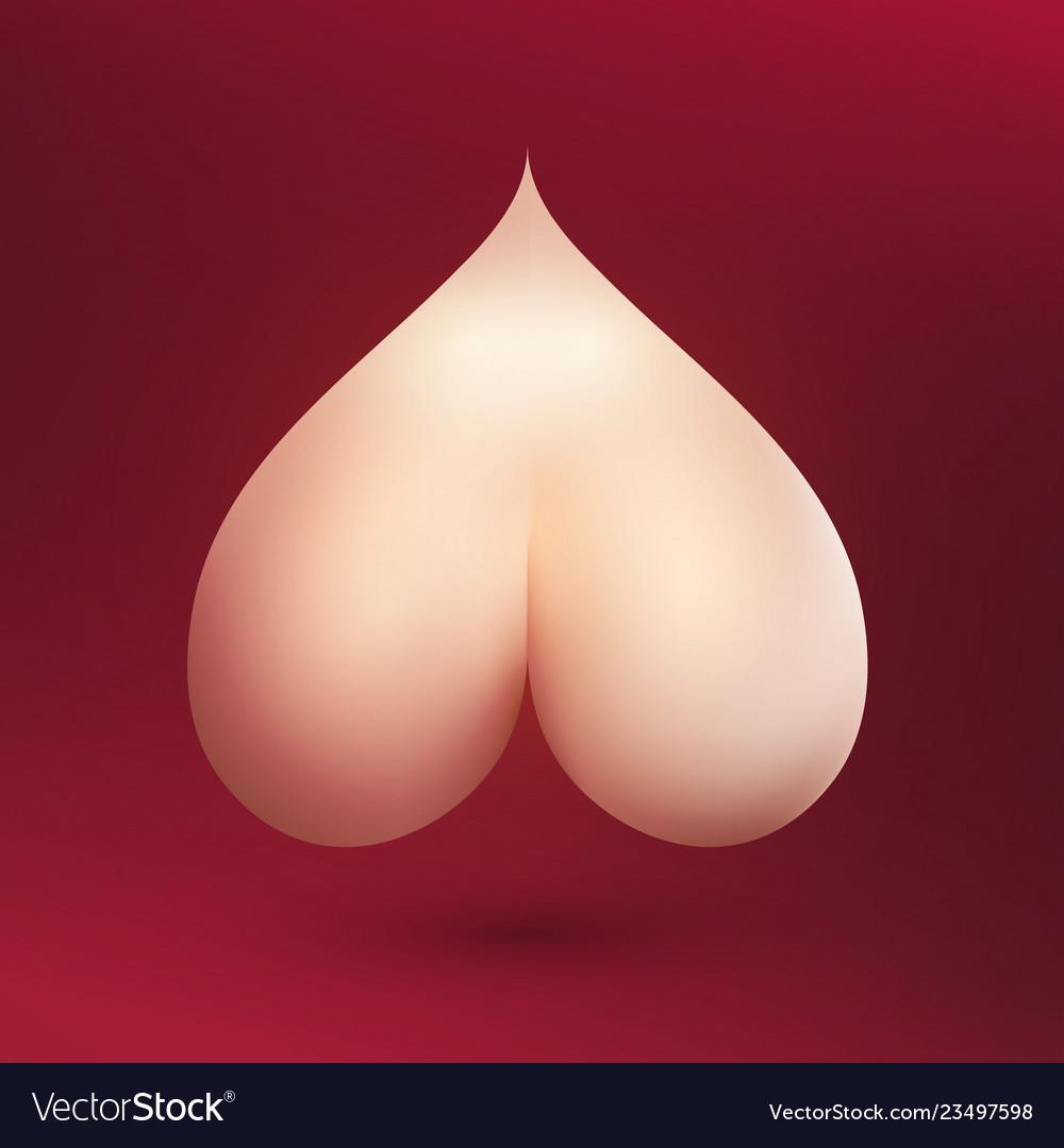Bare naked bum in shape of heart on burgundy