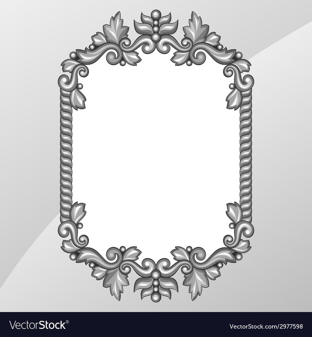 Baroque Ornamental Antique Silver Frame On White