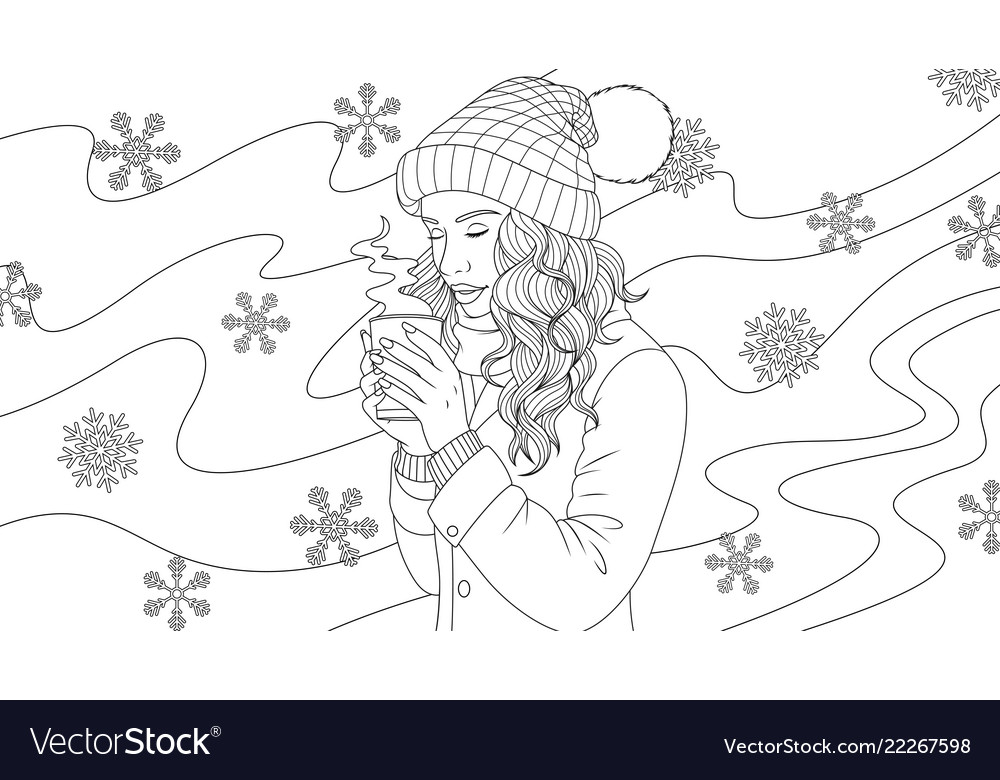 Beautiful girl drinks coffee