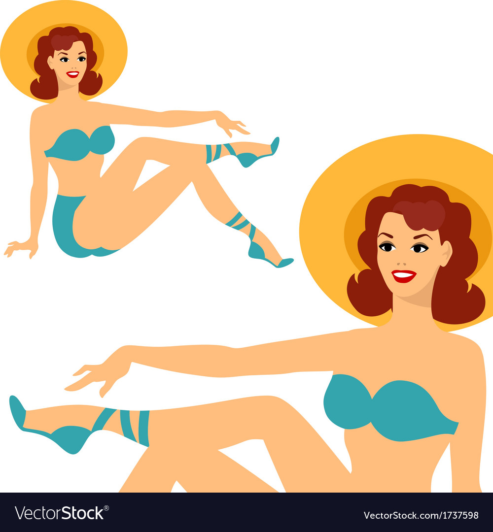 Beautiful pin up girl 1950s style in swimsuit