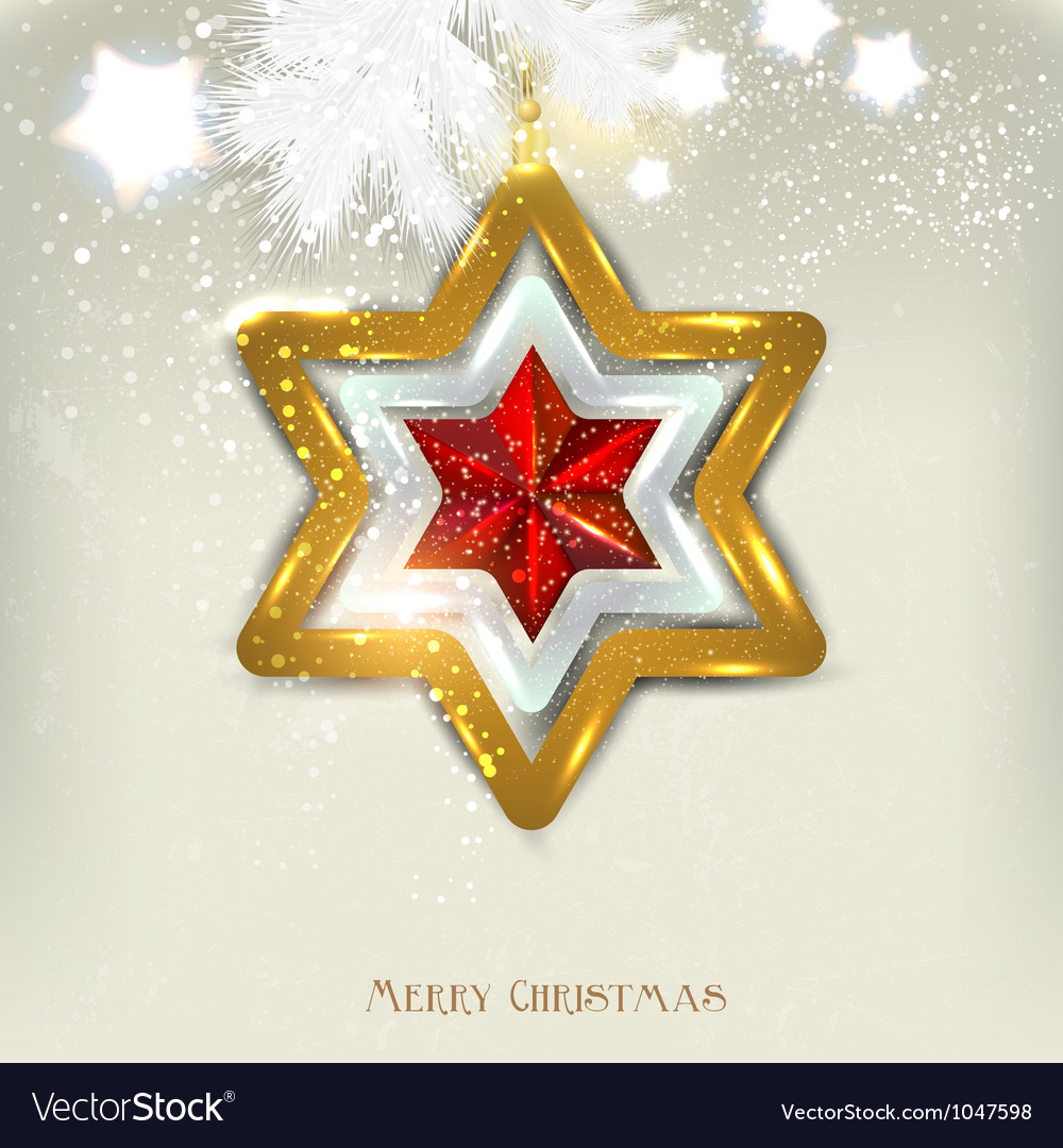 Christmas Star Card Template Royalty Free Vector Image