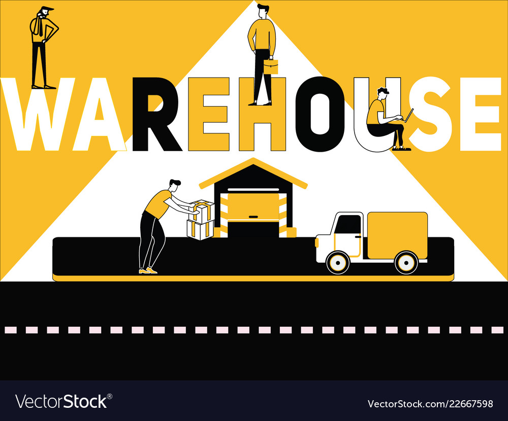 Creative word concept warehouse and people doing